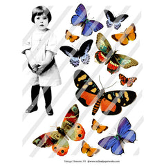 Vintage Elements 319 Butterfly Girl Collage Sheet