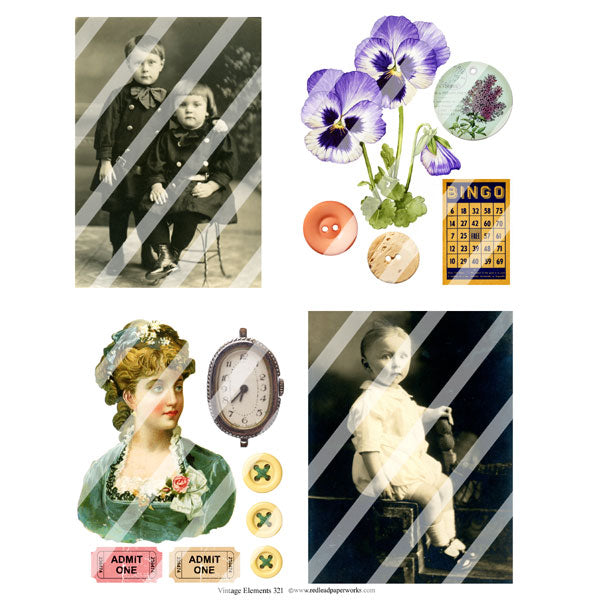 Vintage Elements 321 Collage Sheet