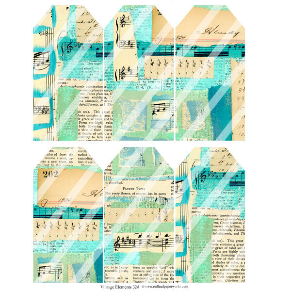 Vintage Elements 324 Music Tags Collage Sheet