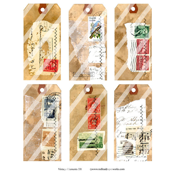 Vintage Elements 331 Mail Art Tags Collage Sheet