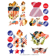 Collage Sheet Vintage Elements 168 Patriotic