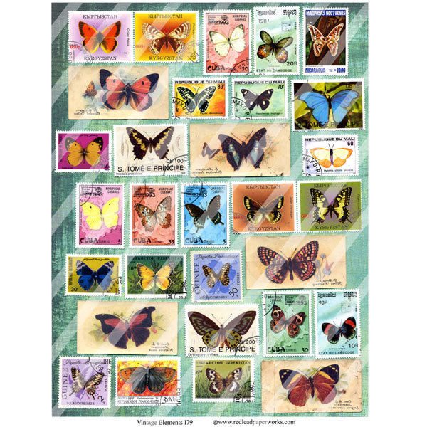 vintage butterfly postage collage sheets
