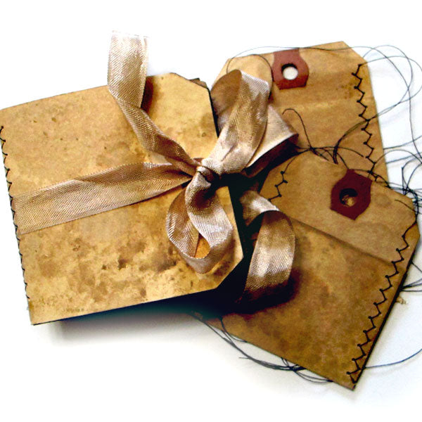 Stitched Walnut Ink Tag Book