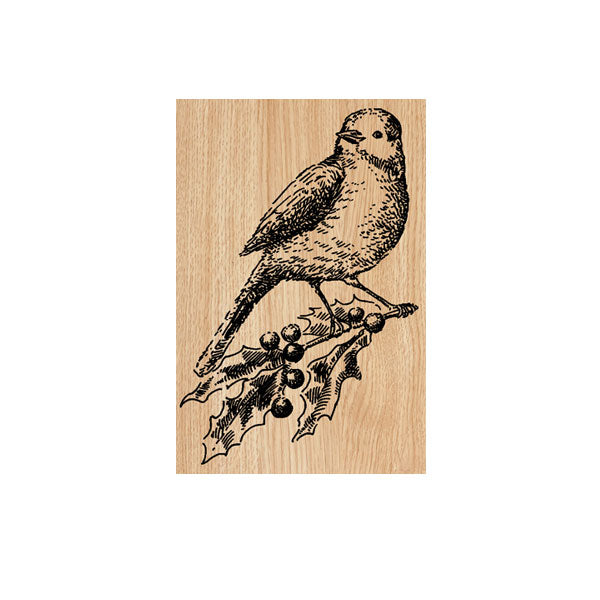 Holly Bird Wood Mounted Rubber Stamp Save 20%