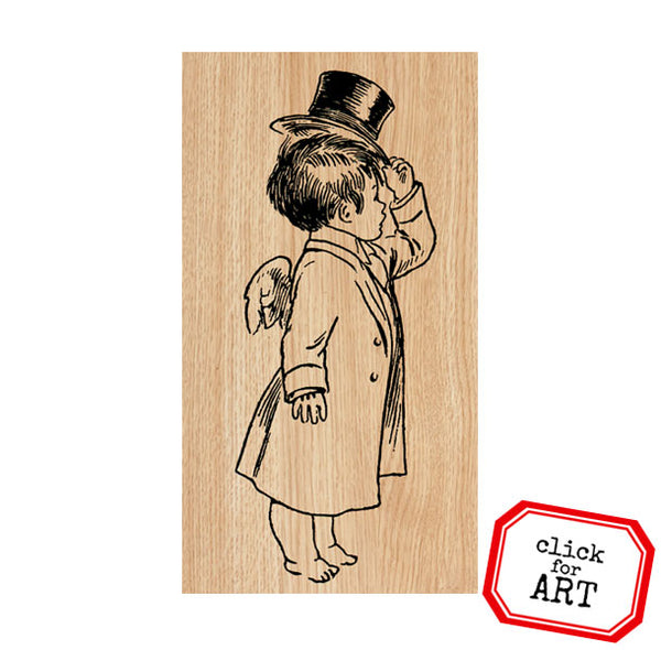 Andre Cupid Wood Mounted Rubber Stamp