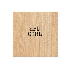 Art Girl Wood Mounted Rubber Stamp