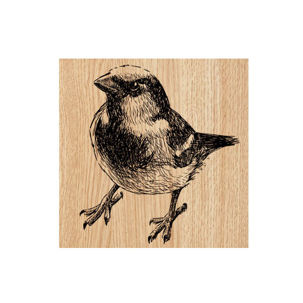 Belinda Baby Bird Wood Mount Rubber Stamp