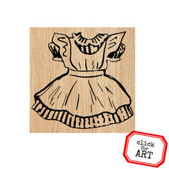 Diane Dress Wood Mount Rubber Stamp