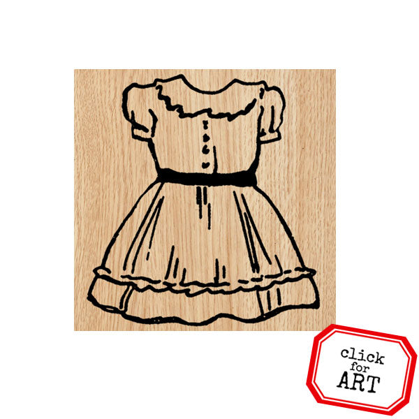 Donna Dress Wood Mount Rubber Stamp
