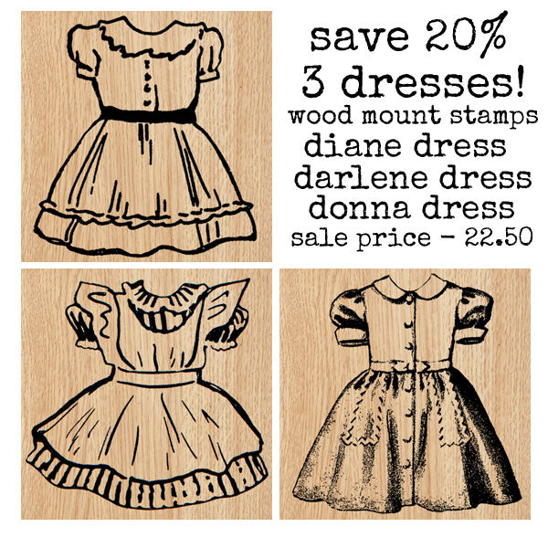 Darlene Donna Diane Dress Wood Mount Rubber Stamp Collection Save 20%
