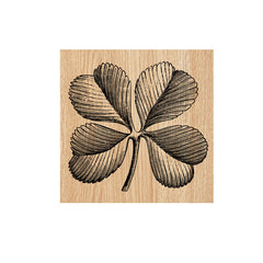 4 Leaf Clover Wood Mount Rubber Stamp