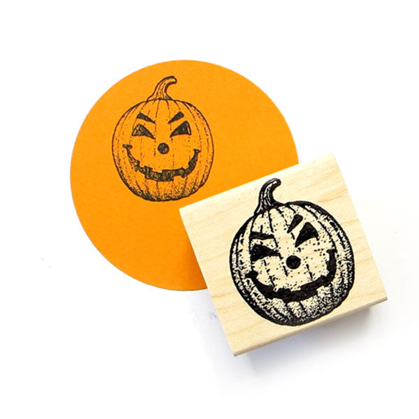 Happy Jack O'Lantern Wood Mount Rubber Stamp