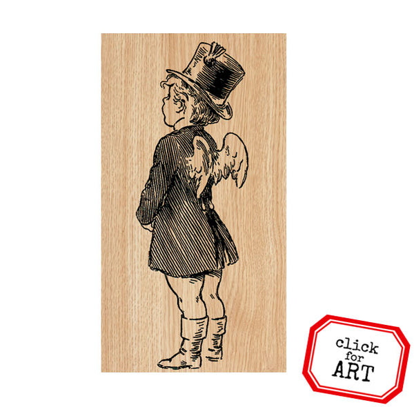 Pierre Cupid Wood Mounted Rubber Stamp