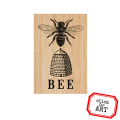 BEE Wood Mount Rubber Stamp