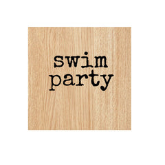 Swim Party Wood Mount Rubber Stamp