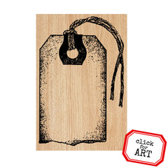 Tattered Tag Wood Mount Rubber Stamp