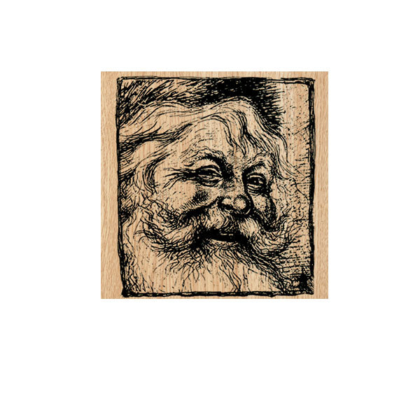Santa Square Wood Mounted Rubber Stamp