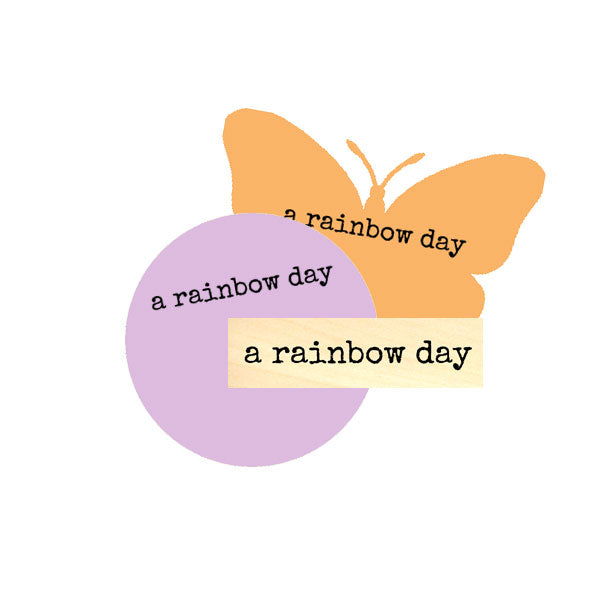A Rainbow Day Wood Mount Rubber Stamp