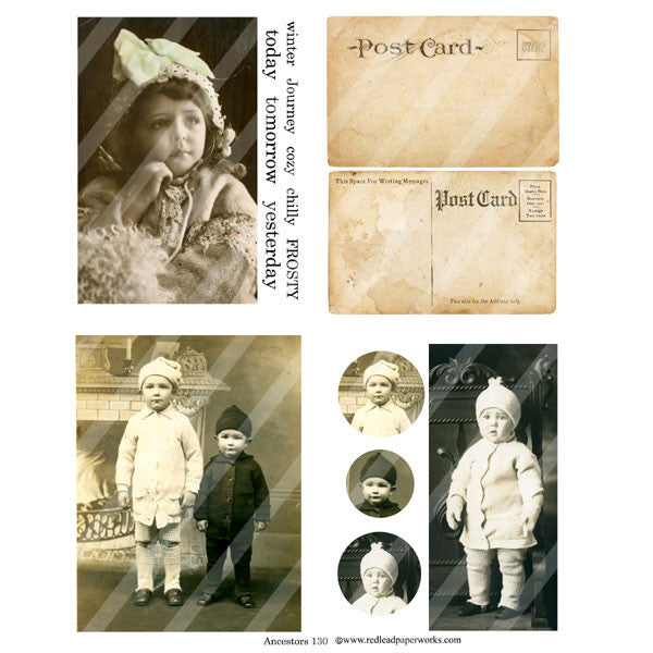 old photos and post card paper collage sheet