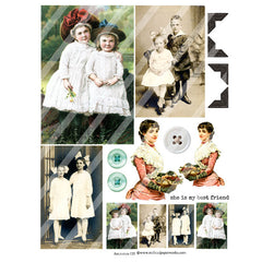 vintage collage sheets ancestors 135
