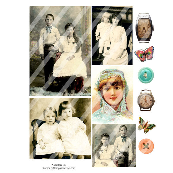 vintage collage sheet with old photos and butterflies