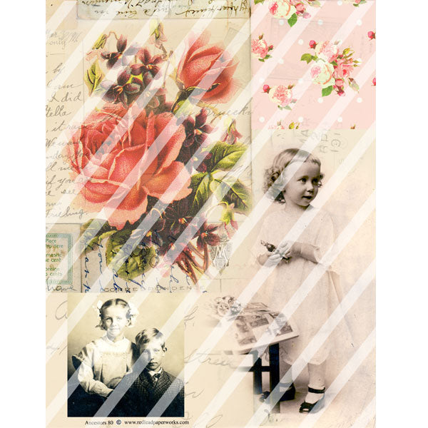 vintage rose collage sheets