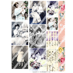 old photos and victorian women collage sheets