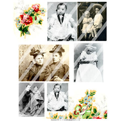 vintage photos collage sheets