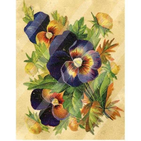Antique Style Paper Print Pansies