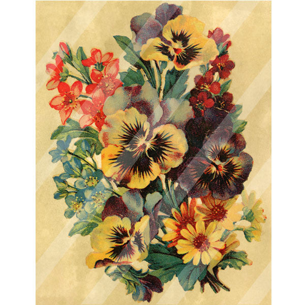 Antique Style Paper Print Pansy Bouquet