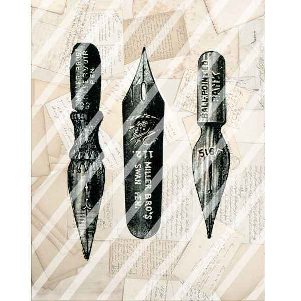 Antique Style Paper Print Pen Points