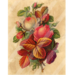 Antique Style Paper Print Rose Bouquet