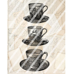 Antique Style Tea Cups Paper Print