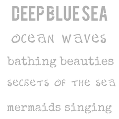 "Stencil Deep Blue Sea Ocean Waves Bathing Beauties Secrets of the Sea Mermaids Singing 6"" x 6"""