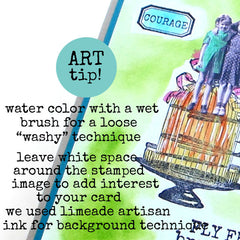 art tip on water coloring rubber stamped cards