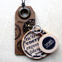 mixed media rubber stamped wood tags