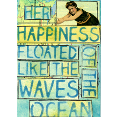 "Beach Stencil Her Happiness Floated Like the Waves of the Ocean 6"" x 6"""