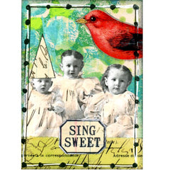 Rubber Stamp Little Labels Butterfly Wishes Bird Song Sing Sweet