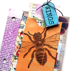 bee rubber stamped chipboard junk book page