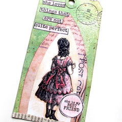 rubber stamped best friend art tag