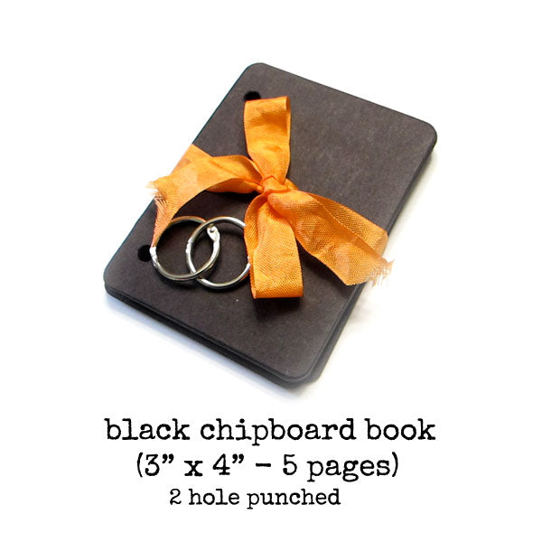 "Little Black 3"" x 4"" Chipboard Book"