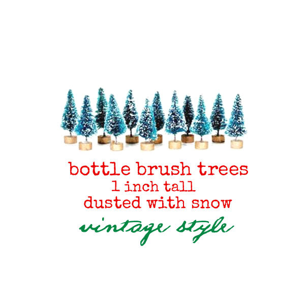 12 Tiny Bottle Brush Trees - Vintage Style