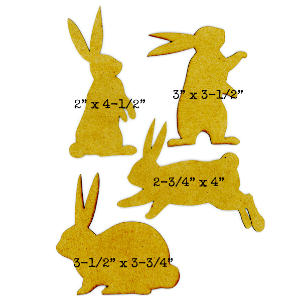 Chipboard Large Bunny Collection - 4 Bunnies - Save 20%