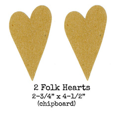 Chipboard Folk Hearts - 2