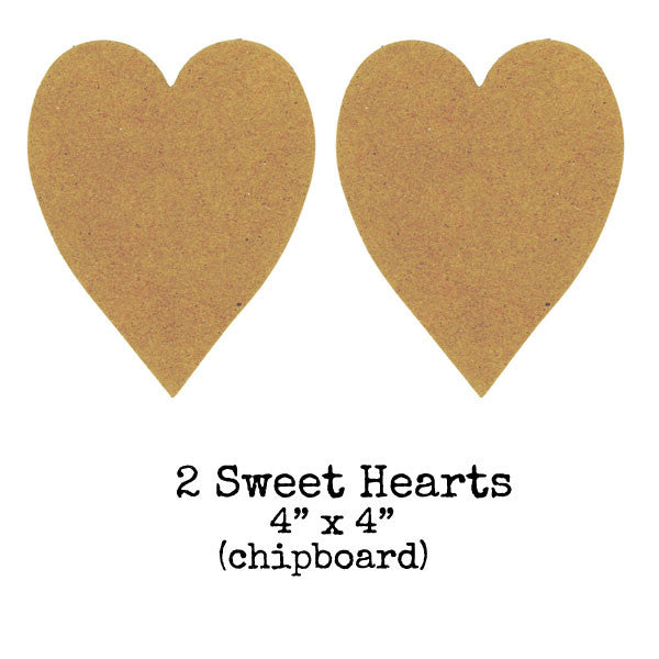 2 Chipboard Sweet Hearts Save 50%