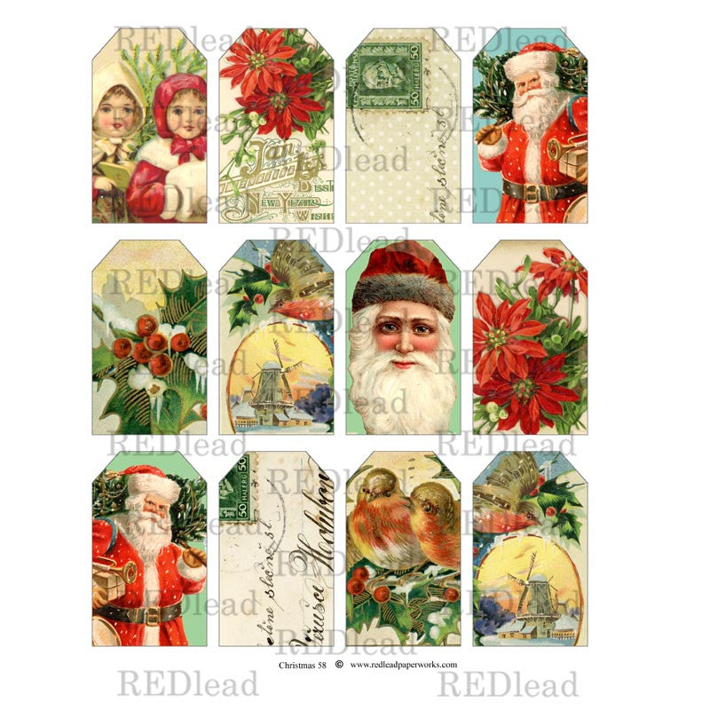 Christmas Collage Sheet 58 Tags