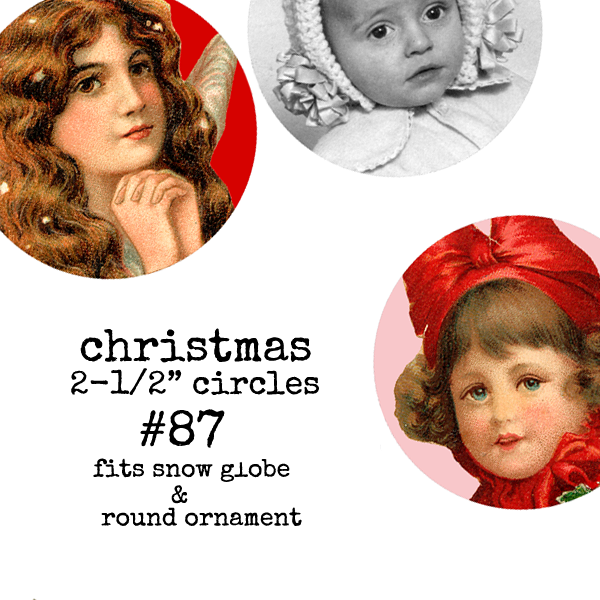 "Christmas Collage Sheet 87 - 2-1/2"" Circles"