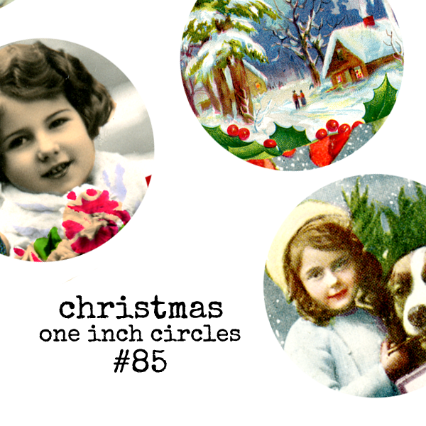 Christmas Collage Sheet 85 - One Inch Circles