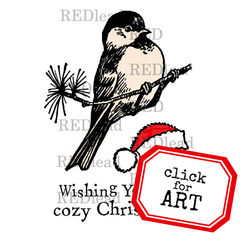 Christmas Rubber Stamp - Wishing You a Cozy Christmas - 3 cling mount rubber stamps