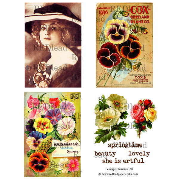 Collage Sheet Vintage Elements 158